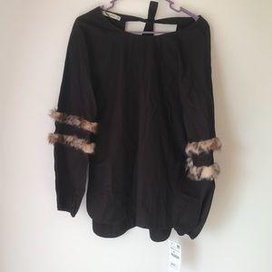 NWT Zara leopard fuzzy long sleeve shirt size XS